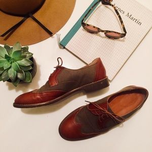 Madewell Canvas and Leather Brogue